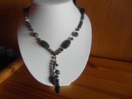 Edelsteinhalskette mit Obsidian