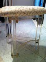 Foto 2 Edler Designerstuhl aus Acryl und Kunststoffbezug im Schuppenmuster
