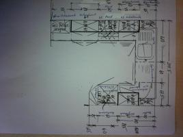 Foto 2 Einbaukücke in hellgrau/buche - inkl. Elektrogeräte