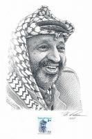 Einmalig Original Zeichnung / Entwurf für die Briefmarke '' Jasir Arafat '' ! !