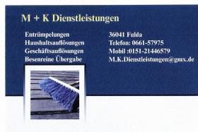 Entrümpelungen - Wohnungsauflösungen -Firma M K Dienstleistungen