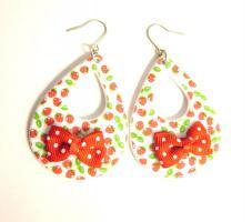 Erdbeer Schleifen Ohrringe