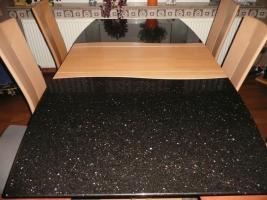 esstisch mit 6 st hlen h lsta ausziehbar buche granit rechteckig massiv. Black Bedroom Furniture Sets. Home Design Ideas