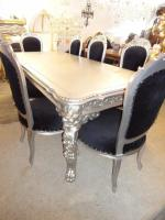Foto 3 Esstisch Silber mit Löwenköpfen inkl. 8 Barocksessel