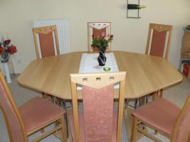 Esstischgruppe mit 6 Hochlehner-Stühlen in buche / teracotta