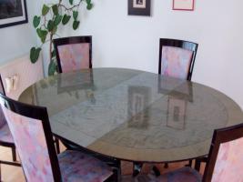 Esszimmer-Garnitur (Tisch mit 6 Stühlen)