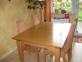 Esszimmergarnitur mit 4 Stühlen / Tisch Buche