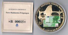 Euro Banknoten-Prägung Cu vergoldet !