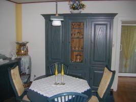 Foto 3 Exclusives Esszimmer Komplett Antikblau mit Kattwinkel Vitrine