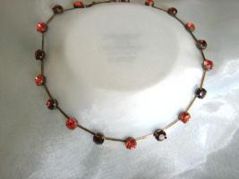 Extravagante Halskette, Swarovski Elemente, Padparadscha, Burgundy