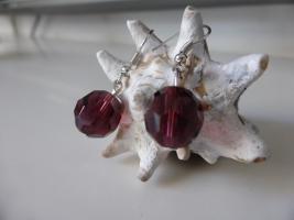 Foto 3 Facettiert Krystall Ohrringe violett -- Sehr hübsch   NEU !!