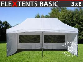 Faltzelt FleXtents Basic 300, 3x6m Weiß, mit 6 wänden