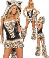 Fasching Karneval Kostüm Leopard Leopardin Plüsch Fell