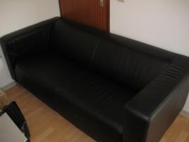 Fast neu: 3-Sitzer Sofa Kunstleder (schwarz)