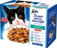 Felix So gut wie es aussieht Fisch Mix 12x100g Katzenfutter von Purina