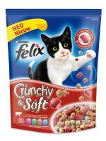 Felix Trocken Crunchy & Soft Fleisch 750g Katzenfutter von Purina, 4er Pack (4 x 750 g)