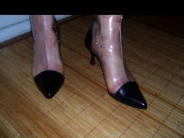 Foto 2 Fifty-6 Stiefelette Gr.38 transparent , echt Leder, High Heels, Neu