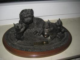 Figurengruppe massiv Westi mit Welpen Original aus England