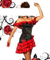 Flamenco-Kostüm schwarz/rot Gr. M-L - OVP - NEU