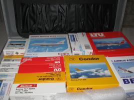 Flugzeugmodelle 1:500 Herpa im Koffer 31 Stück im Koffer für Sammler