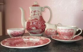 Formschönes Englisches Kaffeeservice - rot/weiß
