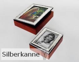 Foto-Schatulle Kreuzband 19x24cm, versilbert / SILBER plated