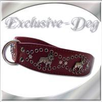 Französische Bulldogge Halsband Lederhalsband mit SWAROVSKI ELEMENTS by EXCLUSIVE-DOG