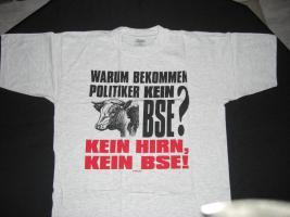 Fun T-Shirt - Warum bekommen Politiker kein BSE - Gr. XL *Neu grau