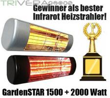 GardenStar 1500/2000 IP54 b&w Infrarot Heizstrahler für Terrasse/Balkon.
