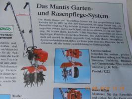 Gartenfräse ''Mantis'' mit Zubehör Vertikutierer u.a. 3x genutzt, wegen Aufgabe von Kulturen