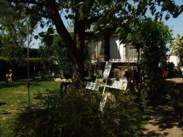 Gartenlaube mit Pachtland im Kleingartenverein