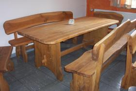 Gartenmöbel Holz Sitzgruppe Tisch + 4 Bänke massiv