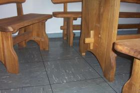 Foto 2 Gartenmöbel Holz Sitzgruppe Tisch + 4 Bänke massiv