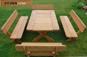 gartenm bel massiv gartenset tisch b nke aus eichen holz. Black Bedroom Furniture Sets. Home Design Ideas