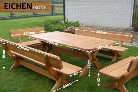 Gartenmöbel Massiv Gartenset Tisch Bänke aus Eichen Holz ...