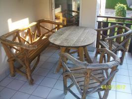 Gartenmöbel, Sitzgruppe, Holz, Gartentisch, Terrassentisch, Bank, Unikat