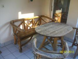 Foto 2 Gartenmöbel, Sitzgruppe, Holz, Gartentisch, Terrassentisch, Bank, Unikat