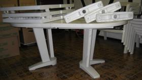 Gartensitzgarnitur Tisch Stühle Bank Auflagen