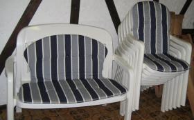 Foto 4 Gartensitzgarnitur Tisch Stühle Bank Auflagen