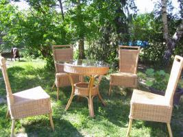 Gartentisch 4 Stühle aus Rattan neuw.