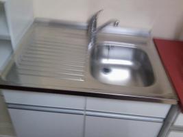 Gas-Elektroherd u. Spülenaufsatz