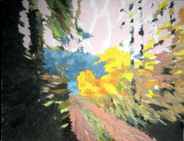 Gemälde ''Eiliger Waldspaziergang''