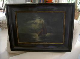 Foto 2 Gemälde in Öl auf Leinwand - ''Segelschiff auf Nachtfahrt''