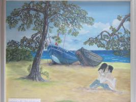 Gemälde in Öl mit jungen Liebespaar