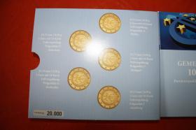 Gemeinschaftsausgabe 10 Jahre EURO 2009 in Vollvergoldung