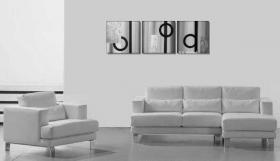 Foto 2 Geo - 3 Acrylgemälde 40x120cm Abstrakt - Silber - Struktur