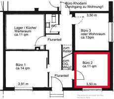 Geräumiger Büro-/Praxisraum von privat