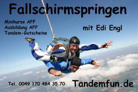 Geschenkidee! Fallschirmspringen bei Tandemfun in Klatovy, Dingolfing, Zell am See, Fromberg