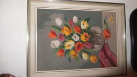 Gesticktes Bild mit Blumen