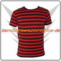 Gestreiftes Schwarz Rot FancyBeast Clubwear Shirt    NEU!